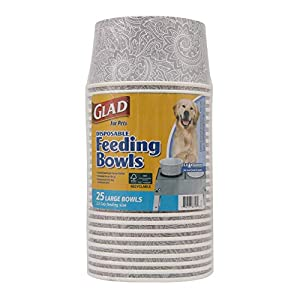 Glad for Pets Disposable Feeding Bowls | Large Disposable Dog Bowls in Gray Pattern | 3.5 Cup Feeding Size, 25 Count – Dog Bowls are Great for Dry and Wet Dog Food or Water