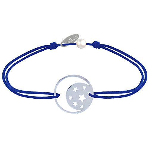 Joyas Les Poulettes - Pulsera de Enlace Medalla de Plata Luna y Estrellas - Azul Marino