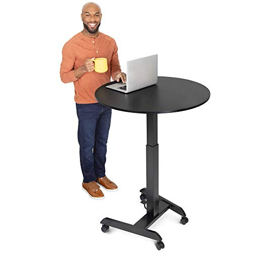 Stand Steady Height Adjustable Round Table & Multifunctional Mobile Workstation | Portable Standing Desk with Pneumatic Air Lift | Collaborative Workspace for School & Office | Easy Assembly (Black)