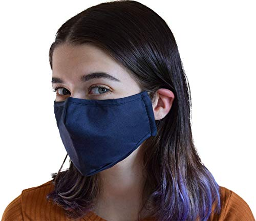 Protective cover reusable with Filter Insert Pocket,Adjustable Ear Loops, Nose Wire, 3-layer cotton cloth fabric, for teens, men, women, seniors, Washable, breathable, Dark Gray, 5-pack