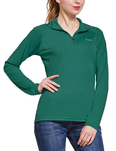 BALEAF Women's UPF 50+ Sun Protection T-Shirt Long Sleeve Half-Zip Thumb Hole Outdoor Performance Workout Tops Dark Green Size S