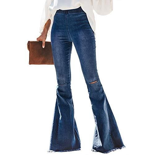 Bienwwow Mujer Jeans Cintura Elástica Bell Bottom Denim Pantalones