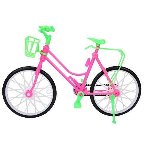 Niñas bicicleta en miniatura con cesta, simulación de plástico Mountain Bike Toy Kids Play House regalos decoraciones para muñecas accesorios