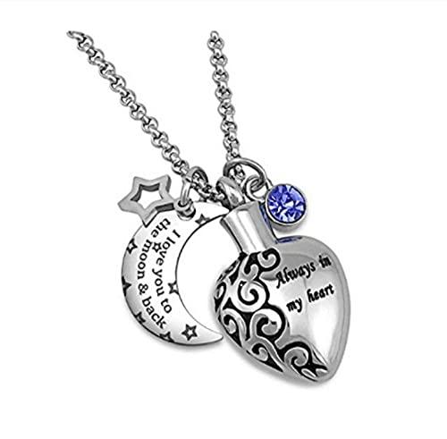 Lddpl Ashes Jewellery - Collares de urna para las cenizas para siempre en mi mente para siempre en mi corazón con texto 'I Love You To The Moon 12 piedras'