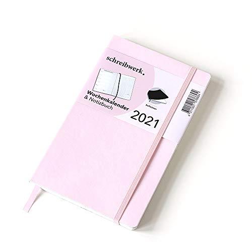 schreibwerk Wochenkalender 2021 & Notizbuch, zartrosa, Softcover, 160 Seiten, Jahresübersicht, Feiertage, Schulferien, Falttasche, Mondphasen