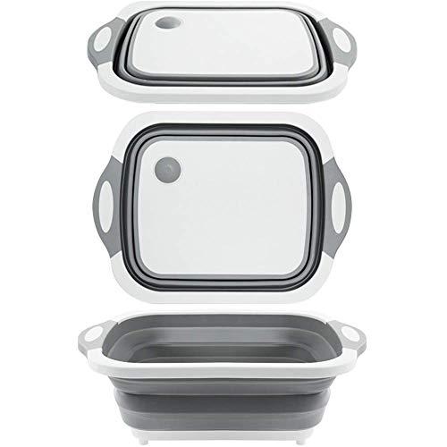 Magiin Tabla de Cortar Plegable Multifunción para Verduras Frutas 3 en 1 Escurridor de Verduras Portátil para Cocina Viajes al Aire Libre Camping BBQ Senderismo 40x30x13,5 cm