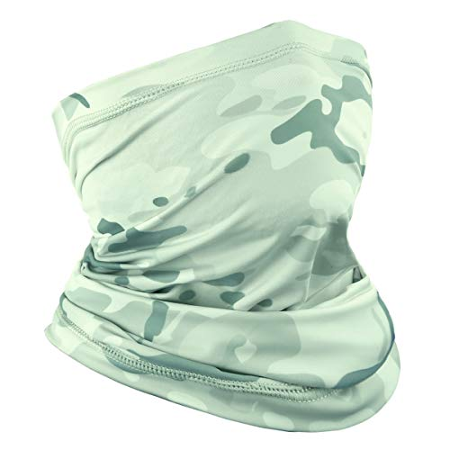 Achiou Neck Gaiter Face Scarf Mask-Dust, Sun Protection Cool Lightweight Windproof, Breathable Fishing Hiking Running Cycling White Camouflage