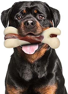 Mumba Indestructible Dog Chew Toys for Aggressive Chewers, Real Beef Flavor Durable Dog Teething Chew Toys Bones for Large/Medium/Small Puppies (Large)