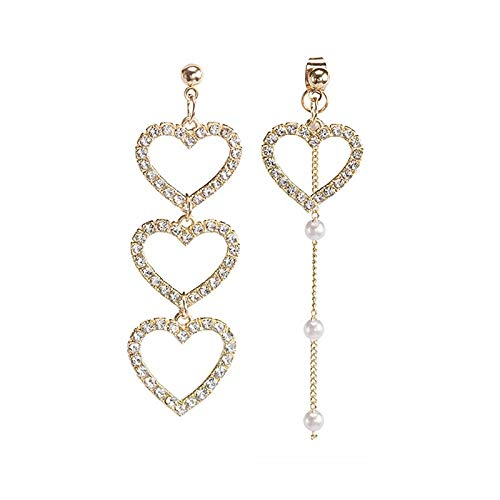 CHENYUXIA Pendientes de plata asimétricos con forma de corazón con diamantes de imitación