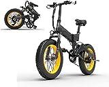 Bicicletta Elettrica Pieghevole 1000W 46km/h Ruote Larghe 20 x 4 Pollici Mountain Bike City Ebike Bici a Pedali in Alluminio da Spiaggia Neve All-Terrain con Shimano 7 Velocità, Display LCD [EU STOCK]