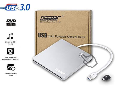 OSGEAR-USB3.0 Type C Slim Slot in Laden einer externen 8x DVDRW DVD CD ROM Brenner Writer Laufwerk für Apple Mac/Windows PC Laptop Desktop Tragbares Gehäuse Caddy Case Support Touch EJECT