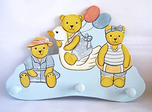 Perchero infantil azul con dibujos de osos 28x20cm. Envío GRATIS 72h