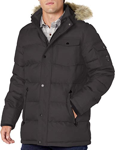 Nautica - Chaqueta acolchada para hombre con capucha de piel sintética extraíble - gris - Small