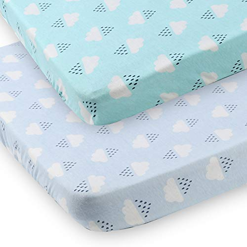 Discover Bargain Pack n Play Fitted Playard Sheet 2 Pack 100% Jersey Cotton Portable Mini Crib Sheet...