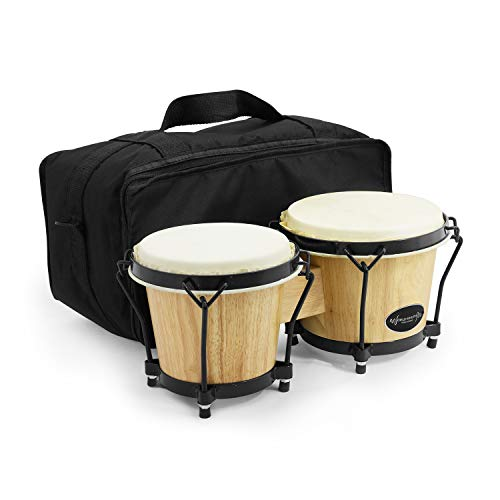 World Rhythm BON7 Bongos 6 Inch & 7 Inch Beginners Oak Bongo Drums -...