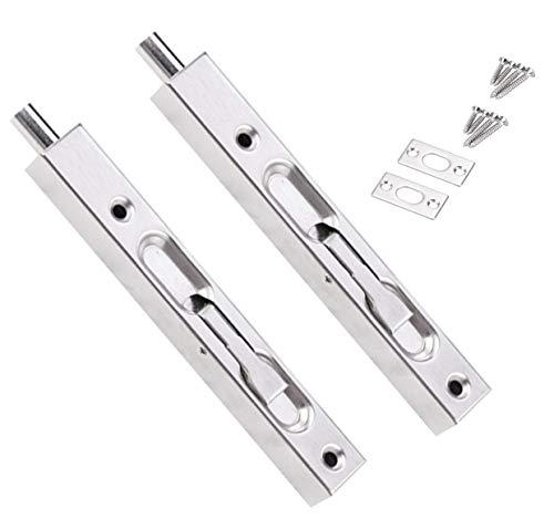 2 Pcs Door Flush Bolt Guard Concealed Slide Bolt Lock - 8 Inch Concealed Security Door Lock for French Doors, Composite Doors,Wood Doors,Double Doors,Dummy Doors,Bolt