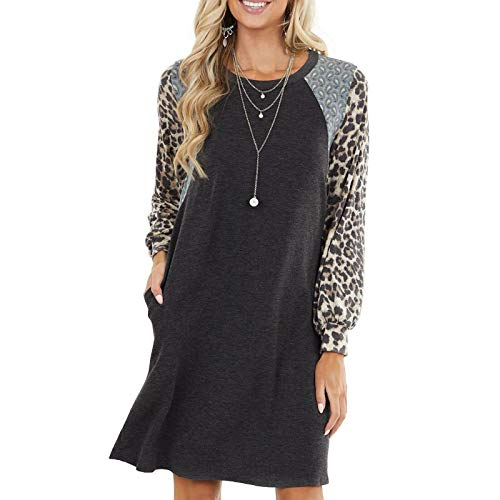 Printed Crew Neck A-Line Dresses with Pockets Casual Tropical Floral Novelty Leopard Patterns Black