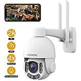 Topcony Telecamera Wi-fi Esterna, 5MP PTZ IP Dome Telecamera di Sorveglianza con Zoom Ottico 4X, Audio a 2 Vie, Rilevazione Movimento PIR, IP66 Impermeabile, Visione Notturna a Colori, Supporto ONVIF