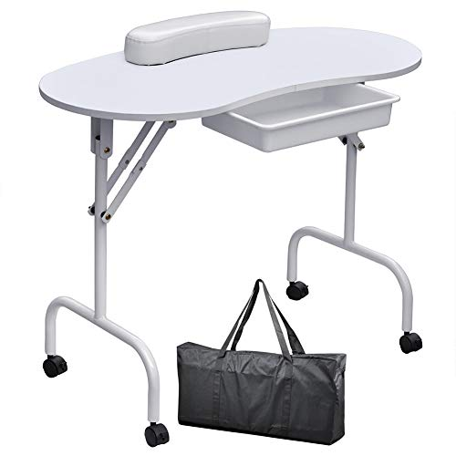Table de manucure pliante portable mobile Table de clou Studio de beauté Salon de beauté,White