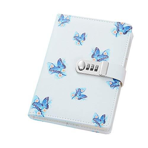 Daily Diario Segreto Taccuino ,Quaderno Scrittura,Diario in Pelle con Lucchetto, Retro Notebook e Block Notes110 pagine,A5 205x140mm(8.07x5.51 inch), TPN112 Butterfly