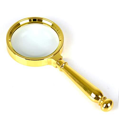 Lesen Lupe Lil 20 Mal alle Metall Handheld Alter Mann lesen Zeitung HD optische Glas Bronze (Color : Premium Gold)