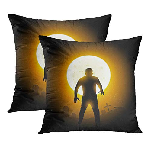 Y·JIANG Halloween Walking Dead Cushion Cover, A Zombie Monster Dead Rising from The Ground Soft Velvet Cushion Case Couch Cover Pillowcase for Sofa Chair Bedroom, 18 X 18 Inch, 2PCS