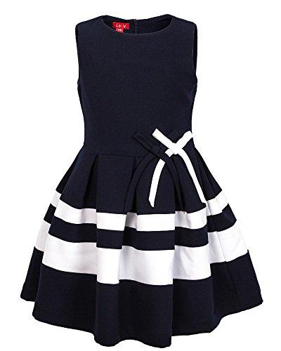 La-V Festliches Kleid gestreift blau mit Schleifen+1 Haarschmuck/Größe 140