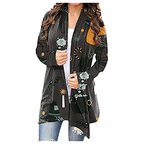 NHNKB Crdigan - Disfraz de Halloween para mujer, chaqueta larga y fina, bolero para otoo, crdigans abierto, sudadera con capucha, chaqueta de hombro, camiseta informal, Sty3-a, M