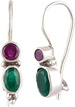 Handicraft Fashion Point 92.5 Sterling Silver Ruby and Emerald Dangle and Drop Hook Earrings for Girls