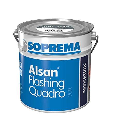 ALSAN Flashing Quadro - 5,0kg/Gebinde - RAL 7040 fenstergrau - einkomponentiger Polyurethan Flüssigkunststoff zur absolut sicheren Abdichtung und Herstellung von Details und Anschlüssen im Flachdach