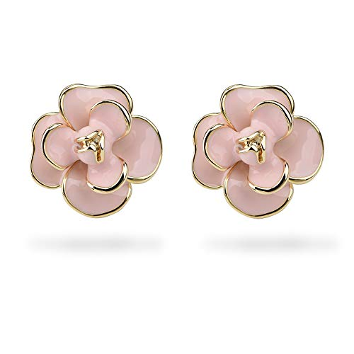 Classic Enamel Camellia Clip Earrings Elegant Flower Hypoallergenic Non Pierced Earrings 925 Silver Stud Earrings for Women Girl Bridal (Pink Clip)