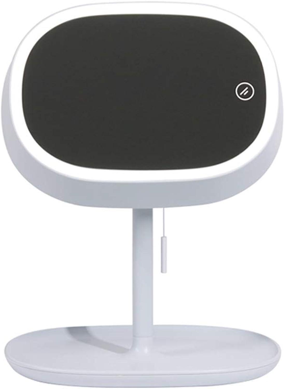 MJBOY LED-Tischleuchte Kosmetikspiegel Tischlampe Intelligentes Dimmen USB-Aufladung Fülllicht Kosmetikspiegel (Blau Grau)