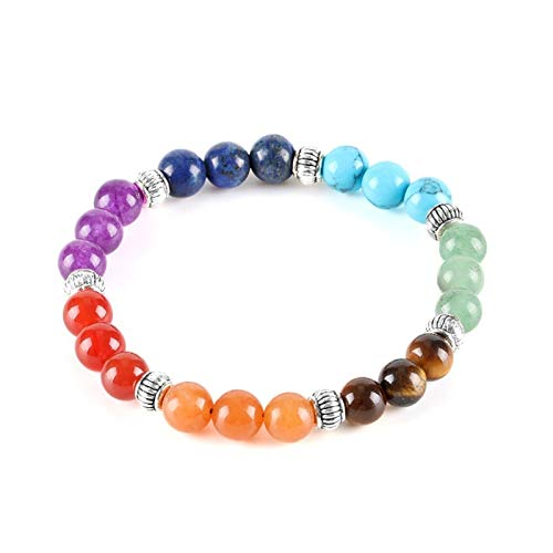 XYBB 7 Chakra Stones Yoga Jewellery Elastic Strand Charms Bracelet For Women Rainbow Natural Glossy Stone Bead