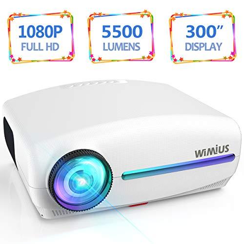 Vidéoprojecteur, WiMiUS 5500 Lumens Rétroprojecteur Full HD 1920 x...