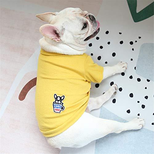 Hdwk&Hped Small Medium Dog Shirt Soft Cotton Pet Pajamas T-Shirt Style for Fat Dog French Bulldog Corgi Yellow #3