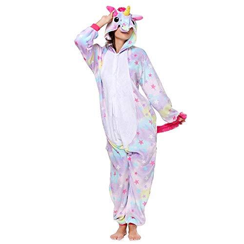 Anbelarui Tier Skelett Pinguin Dinosaurier Panda Einhorn Kostüm Damen Herren Pyjama Jumpsuit Nachtwäsche Halloween Karneval Fasching Cosplay Kleidung S/M/L/XL (M, Einhorn Stern)