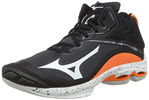 Mizuno Wave Lightning Z6mid, Zapatos de Voleibol Unisex Adulto, Negro (Black/Wht/Orangeclownfish 53), 46 EU