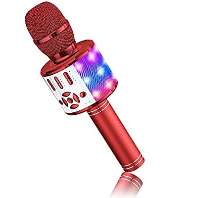 Microphone for Kids Wireless, Magic Sound Karaoke Wireless Microphone, 4 in 1 Bluetooth Karaoke Machine, Adult Car Karaoke Mic Singing Machine, for Party/Outdoor/Travel(Red)