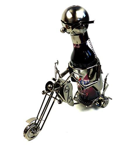 Unbekannt Moderner Bier Flaschenhalter Flaschenständer Motorrad aus Metall in Silber Höhe 22 cm Länge 26 cm