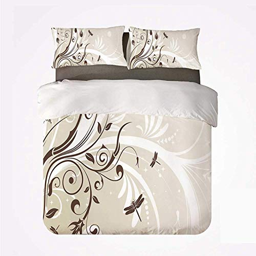 Zozun Duvet Cover Set Dragonfly Durable 3 Bedding Set,Seasonal Flourishing Flower Petals Swirled Branches Artistic Beauty Design Decorative for Indoor