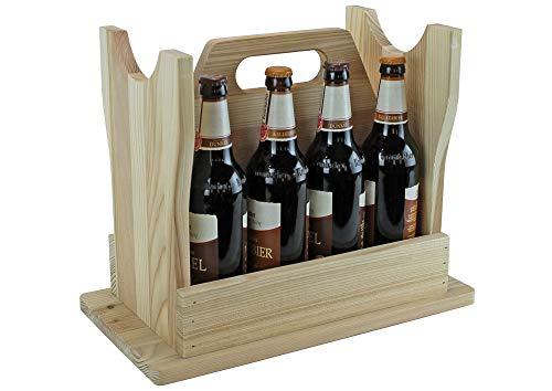 UTI GmbH Flaschenträger - Bierhocker aus Holz, naturbelassen - für 8 Flaschen - Männerhandtasche - Geschenkidee