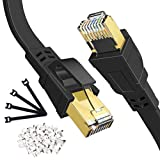 Cat 8 Ethernet Cable 100 FT, High Speed Internet LAN Cable Shielded with RJ45 Connector, Long Flat Gaming Ethernet Network Cable Cord 40Gbps for PS5,PS4,Switch,Router, Modem, Black