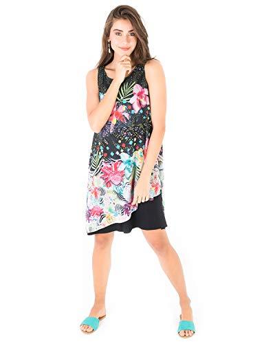 Smash! Vestido Negro con Estampado Floral y Animal de Fiesta Vestido sin Mangas con Cuello Redondo de Verano para Mujer Dress Erica