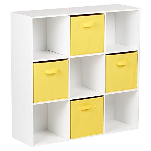 Hartleys Mobile Bianca con 9 cubi e 4 cassetti Giallo