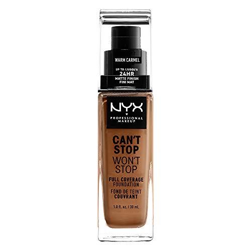 NYX Professional Makeup Base de maquillaje Can t Stop Won t Stop Full Coverage Foundation, Larga duración, Waterproof, Fórmula vegana, Acabado mate, Tono: Warm Caramel