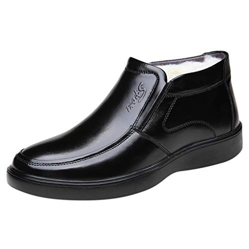 Herren Loafers Baumwollstiefel High-Top Halbschuhe Plus Velvet Kurze Stiefel Freizeit Bequeme Stiefeletten Bootschuhe wasserdichte rutschfeste Ankle Boots, Schwarz, 39 EU
