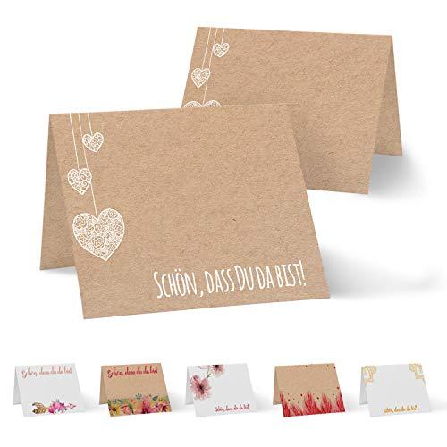 Partycards 50 Tischkarten/Platzkarten DIN A7 für Hochzeit, Geburtstag, Kommunion, Taufe (Kraftpapier und hängende Herzen)