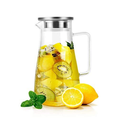 HJYSQX Jarra de Vidrio con Tapa Jarra de Jarra de Agua de 1.5 litros con Pico y manija fáciles de Verter - Jarra de Vidrio de borosilicato para Agua Caliente/fría, Jugo casero y té Helado, cepill