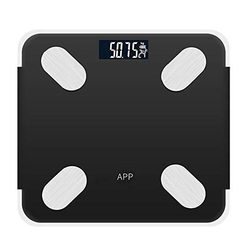 Oplaadbare Bluetooth APP Android IOS Smart Menselijk lichaam Elektronische weegschaal Vetmeter Meet kamertemperatuur Instelling Dieettijd Zwart