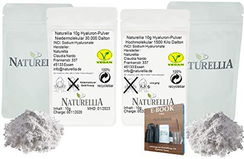 Naturellia Acido Hialuronico 20g - 10 Gramos 50 kDalton Bajo Peso + 10 Gramos 1500k Dalton Alto Peso Molecular Para el Efecto de Superficie